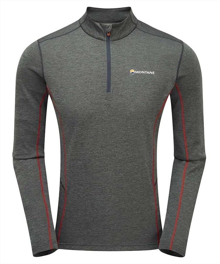 Montane Dart Zip-Neck Men's Long-Sleeve Running Top, S Shadow