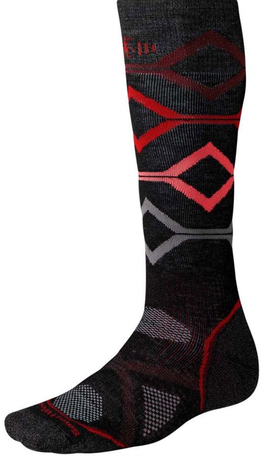Smartwool PHD Snowboard Medium Snowboard Socks, M, Black / Red