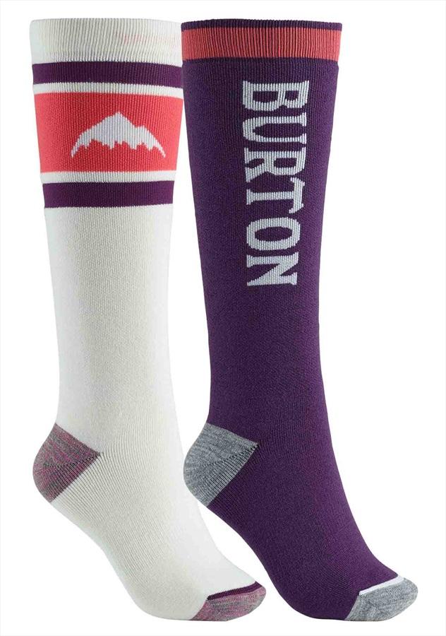 Burton Weekend Midweight 2PK Women's Snowboard Socks, M/L Stout White