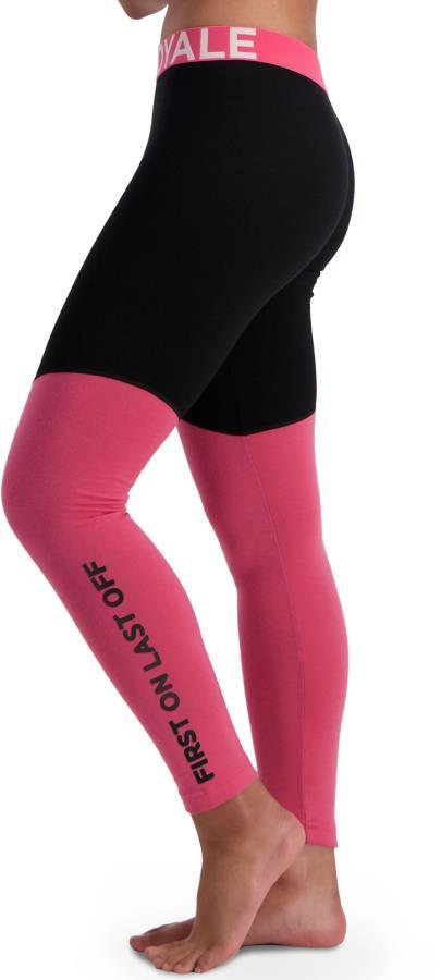 Mons Royale Christy Women's Merino Wool Leggings, M Pink / Black