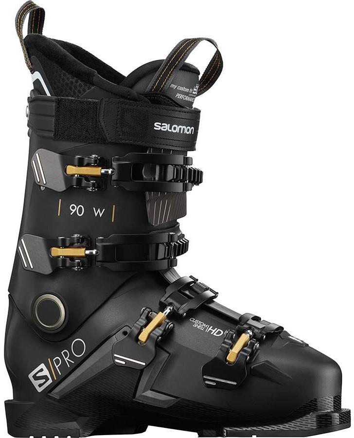 Salomon S/Pro 90 W Women's Ski Boots, 23/23.5 Black/Belluga/Gold 2021