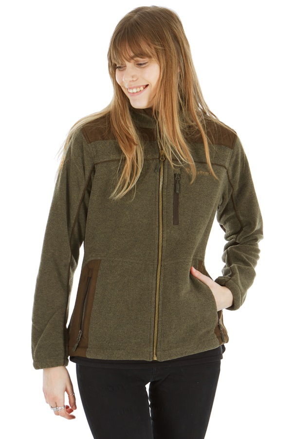 Pinewood Diana Women's Full Zip Fleece Jacket, L Olive/Brown