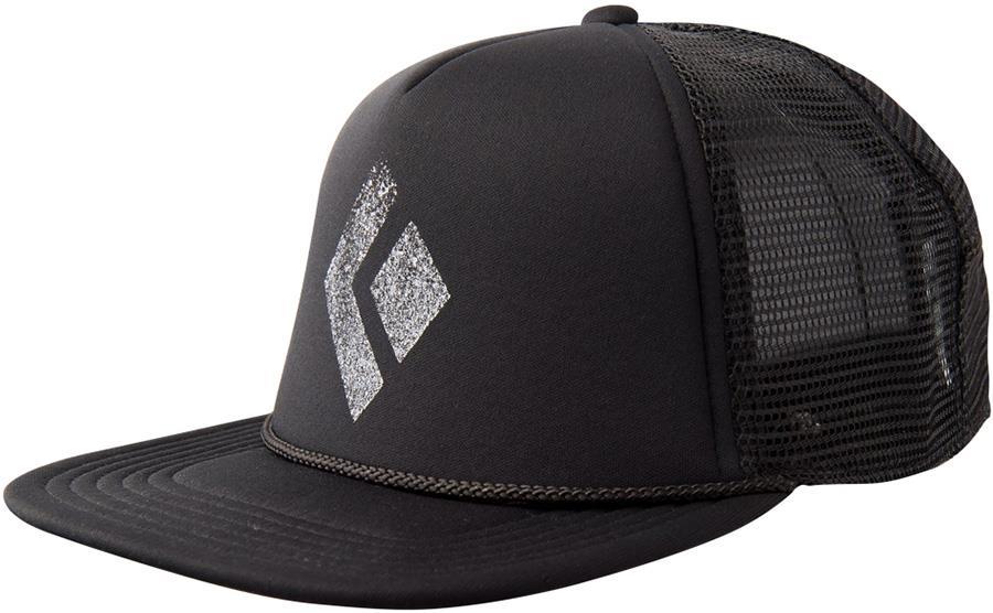 Black Diamond Flat Bill Peaked Cap Trucker Hat Adjustable Black/White