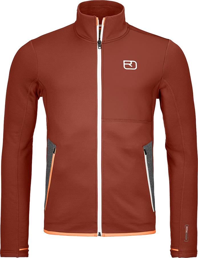 Ortovox Adult Unisex Fleece Light Full Zip Jacket, M Clay Orange