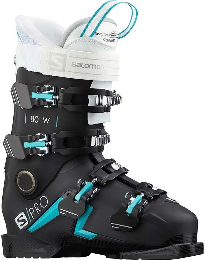 Salomon S/Pro 80 W Women's Ski Boots, 25/25.5 Black/Scuba Blue 2021
