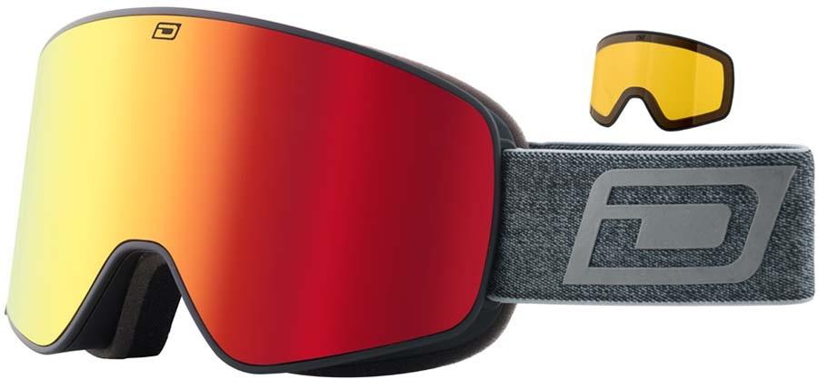 Dirty Dog Mutant Legacy 0.5 Red F Snowboard/Ski Goggles, M Black-Grey