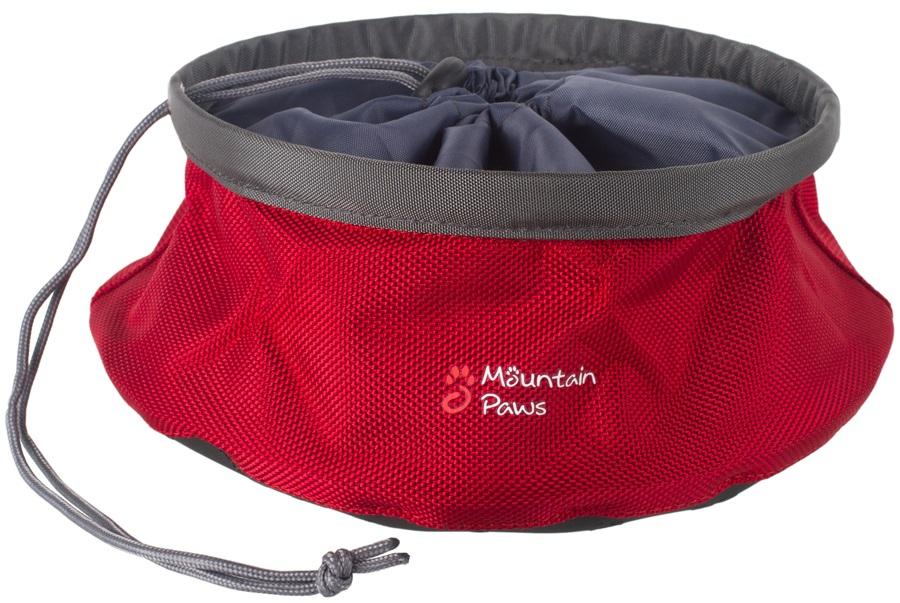 Mountain Paws Dog Food Bowl Collapsible Pet Bowl, Large Red