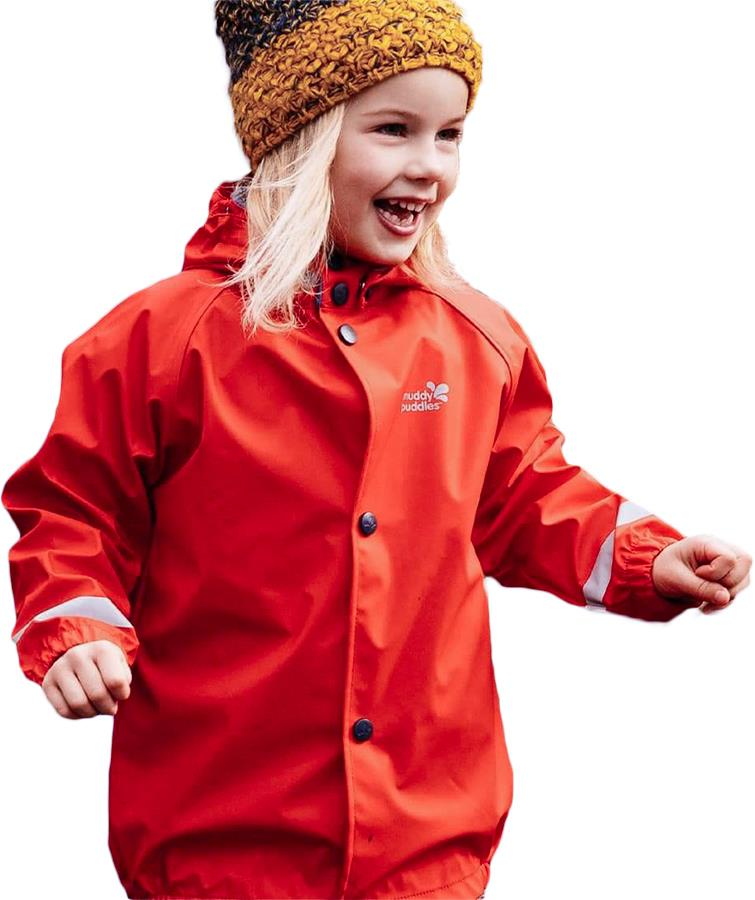 Muddy Puddles Rainy Day Kids Waterproof Jacket, 4-5yrs Bright Red