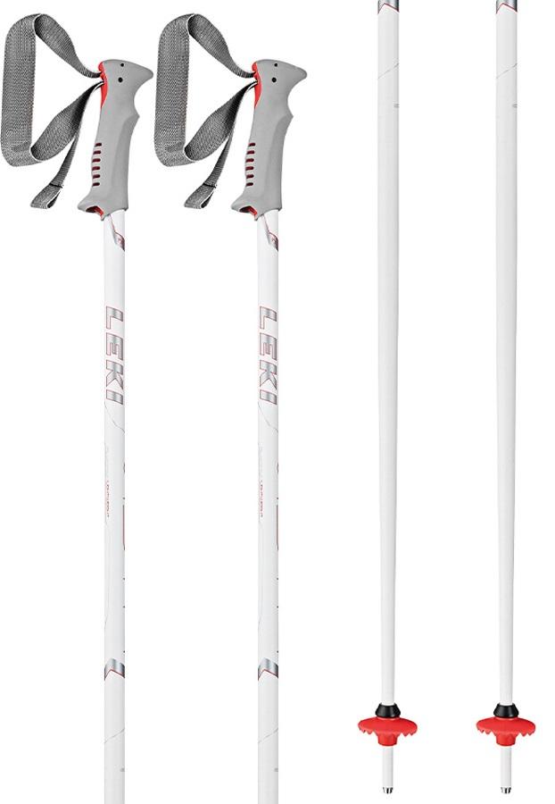 Leki Vista Pair Of Ski Poles, 125cm White/Grey/Red