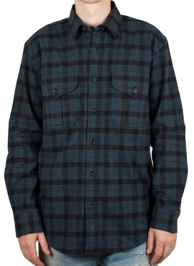 Filson Alaskan Guide Button Up Long Sleeve Shirt, M Midnight Black