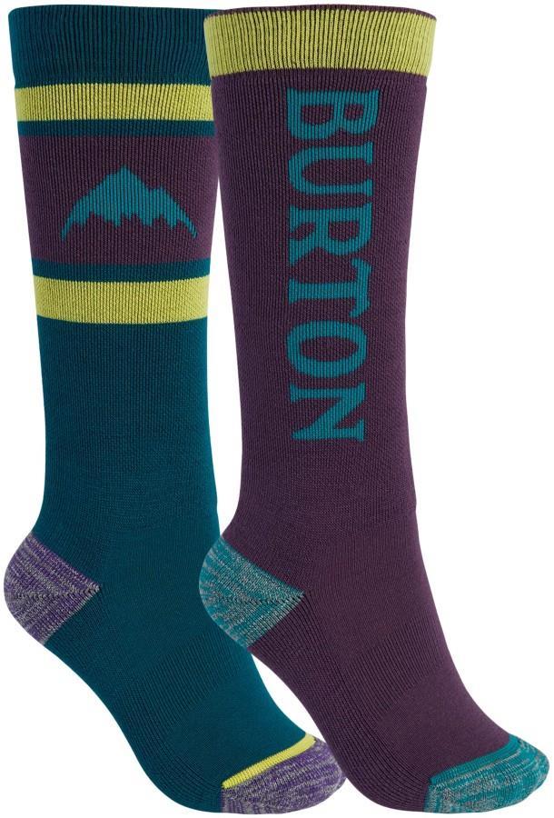 Burton Child Unisex Weekend Midweight 2pk Kid's Ski/Snowboard Socks, M/L Dynasty