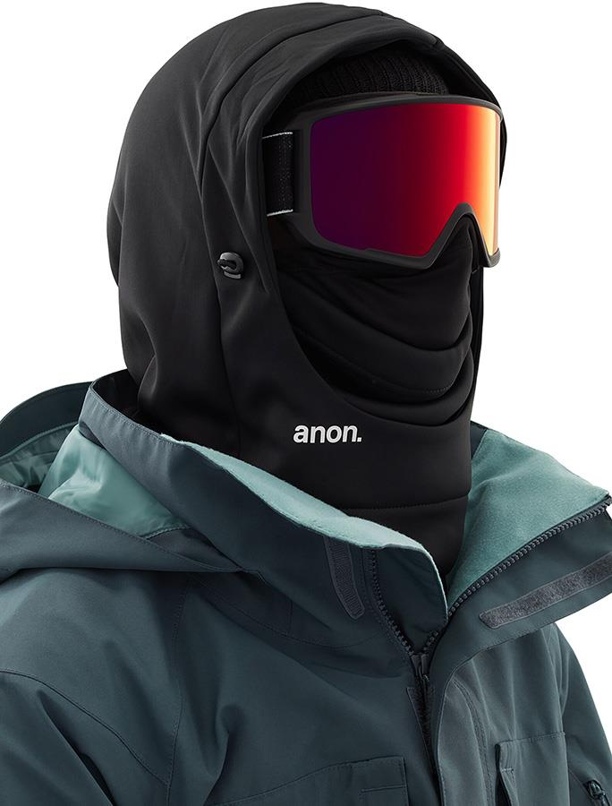 Anon Hooded Balaclava MFI Fleece Facemask, Relaxed Fit Black