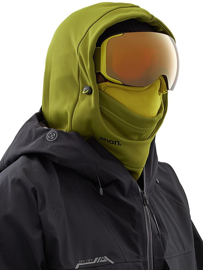 Anon Hooded Balaclava MFI Fleece Facemask, Relaxed Fit Green