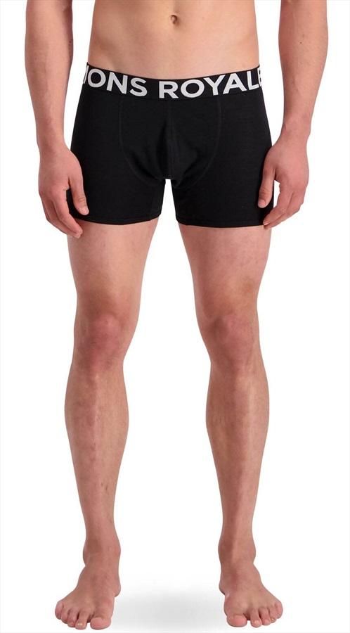 Mons Royale Hold'em Shorty Merino Wool Thermal Boxers, XL Black