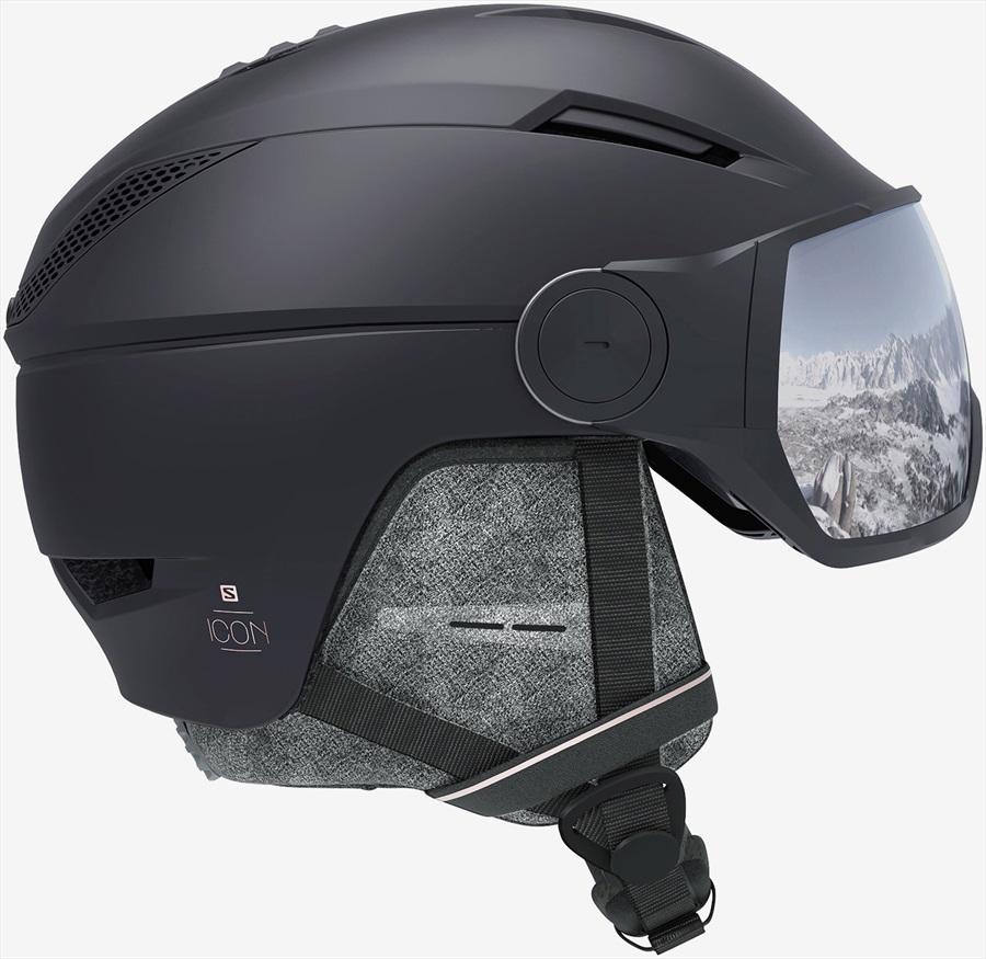 Salomon Icon2 Visor Silver Women's Snowboard/Ski Helmet, M Black