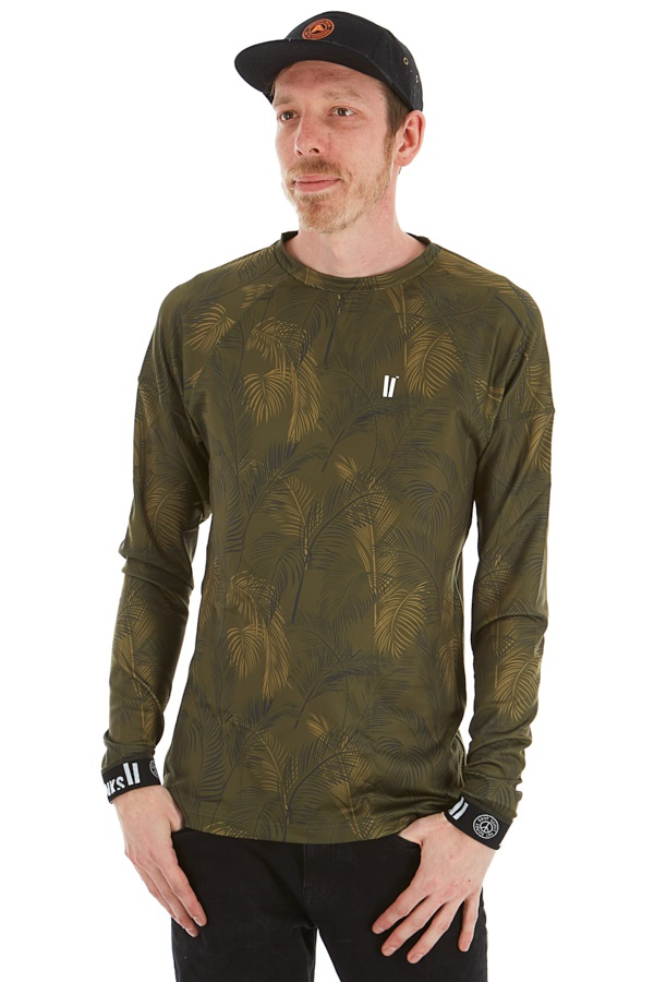 Planks Adult Unisex Fall-Line Base Layer Thermal Top, L Jungle Palm