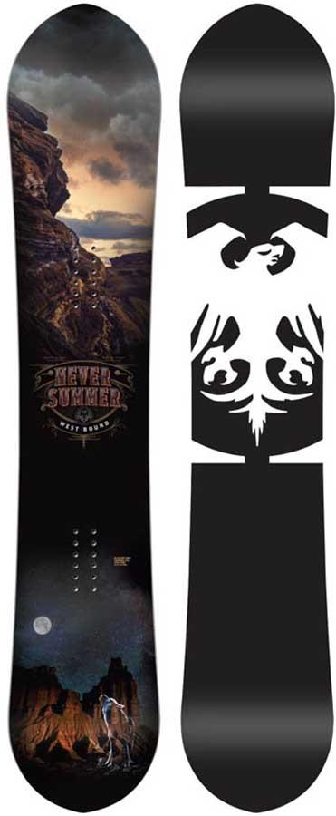 Never Summer West Bound Hybrid Camber Snowboard, 155cm 2020