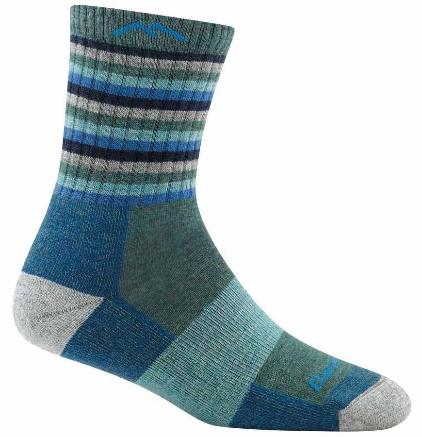 Darn Tough Womens Stripes Micro Crew Midweight Women's Hiking Socks, S Aqua