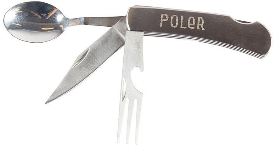 Poler Nobo Knife Folding Camping Cutlery Set, Grey