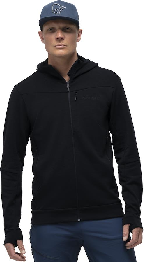 Norrona Falketind Warmwool2 Stretch Zip Hood Fleece Jacket, S Caviar