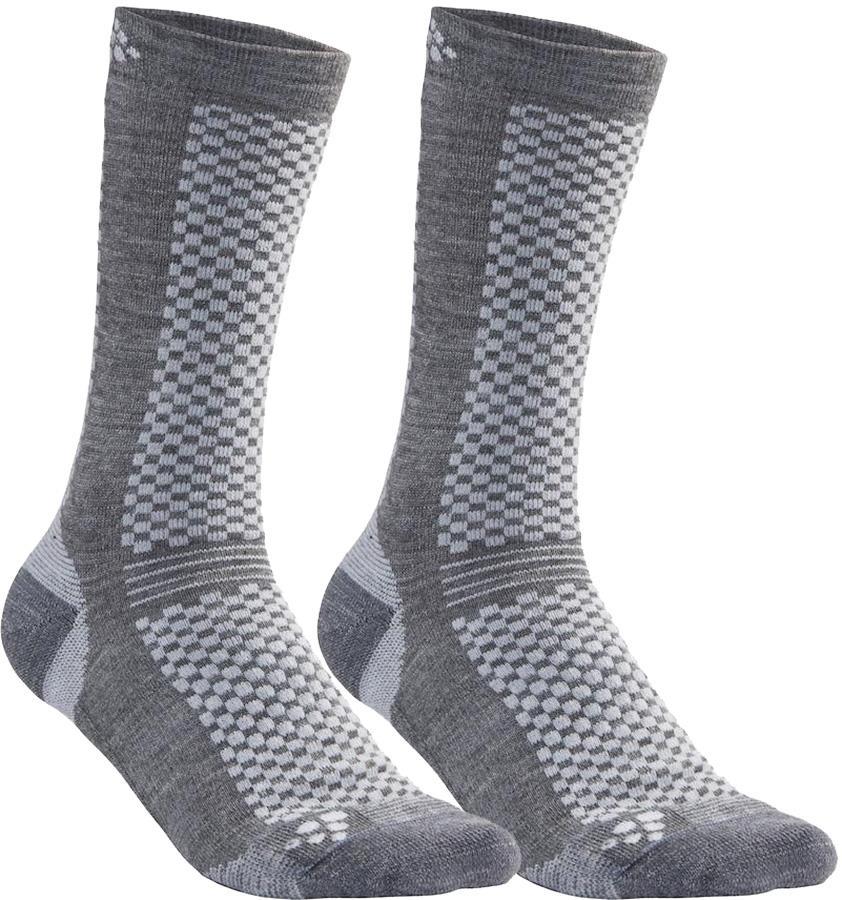 Craft Warm Mid 2-Pack Running Training Socks, UK 11-12 Granite