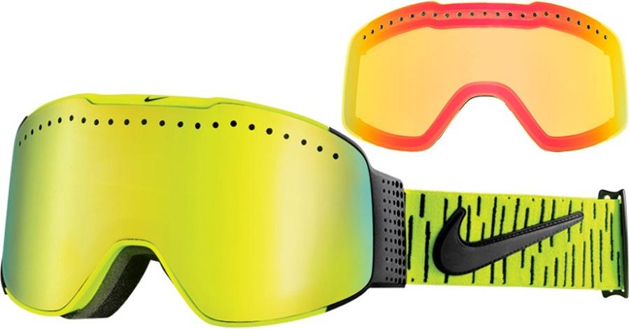 Nike SB Fade Ski/Snowboard Goggles, M/L, Volt, Smoke Gold Ion