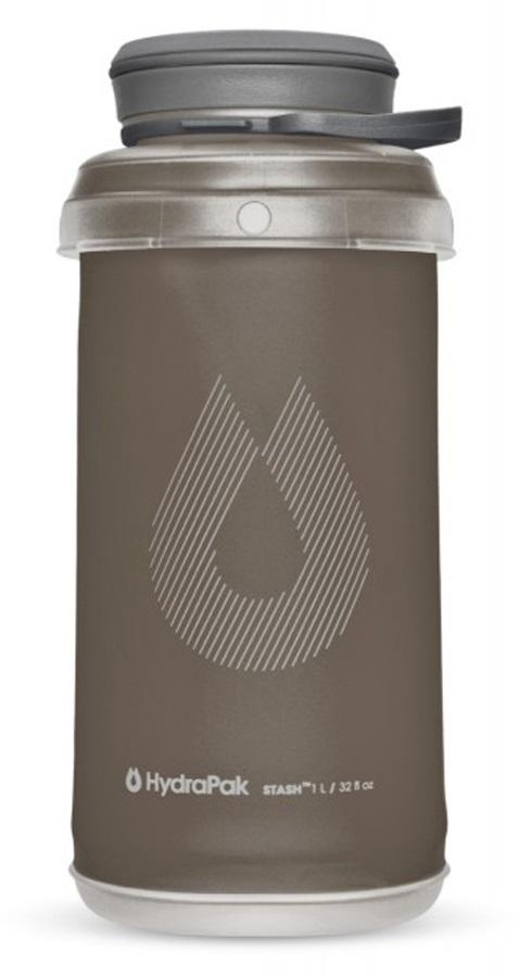 HydraPak Stash Bottle Collapsible Water Bottle, 1L Mammoth Grey