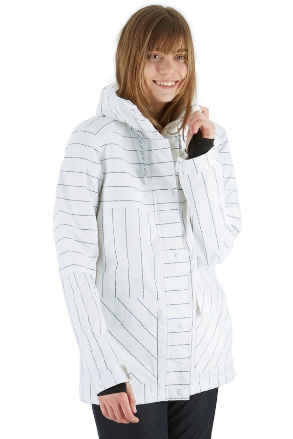 DC Cruiser Women's Ski/Snowboard Jacket, S White Logo Pin Stripe
