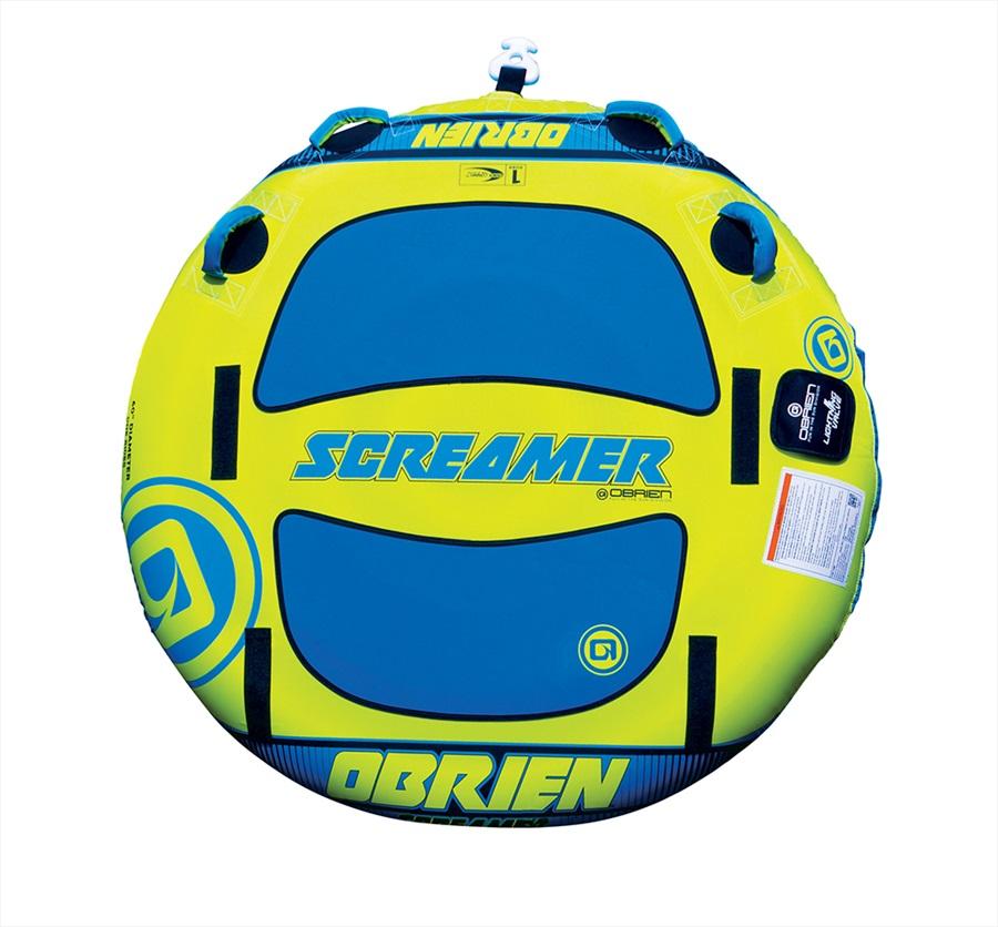O'Brien Screamer Towable Inflatable Deck Tube, 1 Rider Yellow Blu 2020