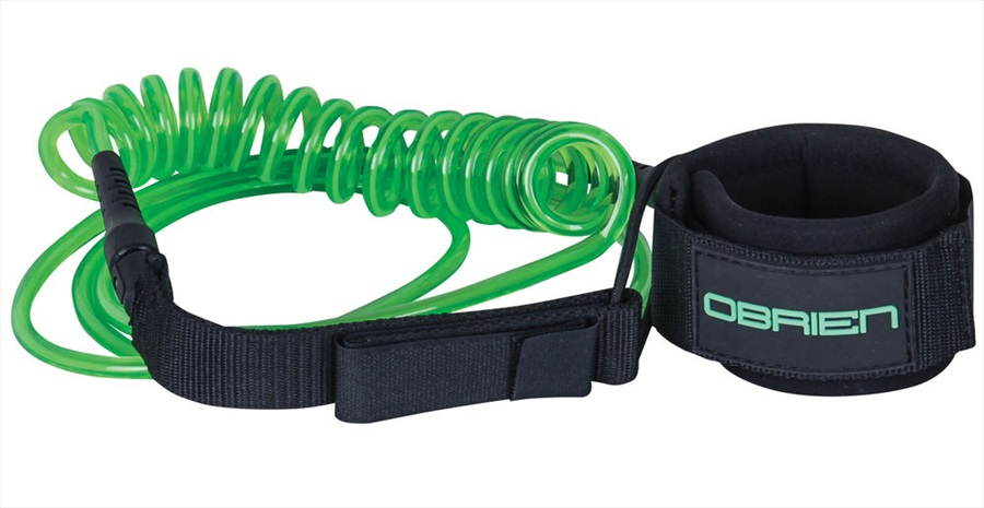 O'Brien Coiled Leash For SUP, 10 Ft Green