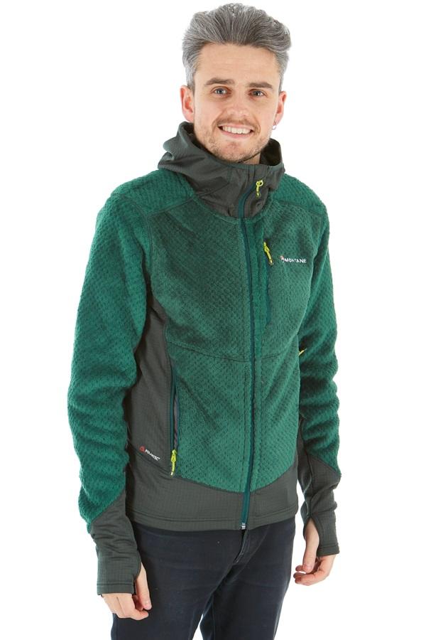 Montane Wolf Hooded Fleece Hiking Jacket, S Green