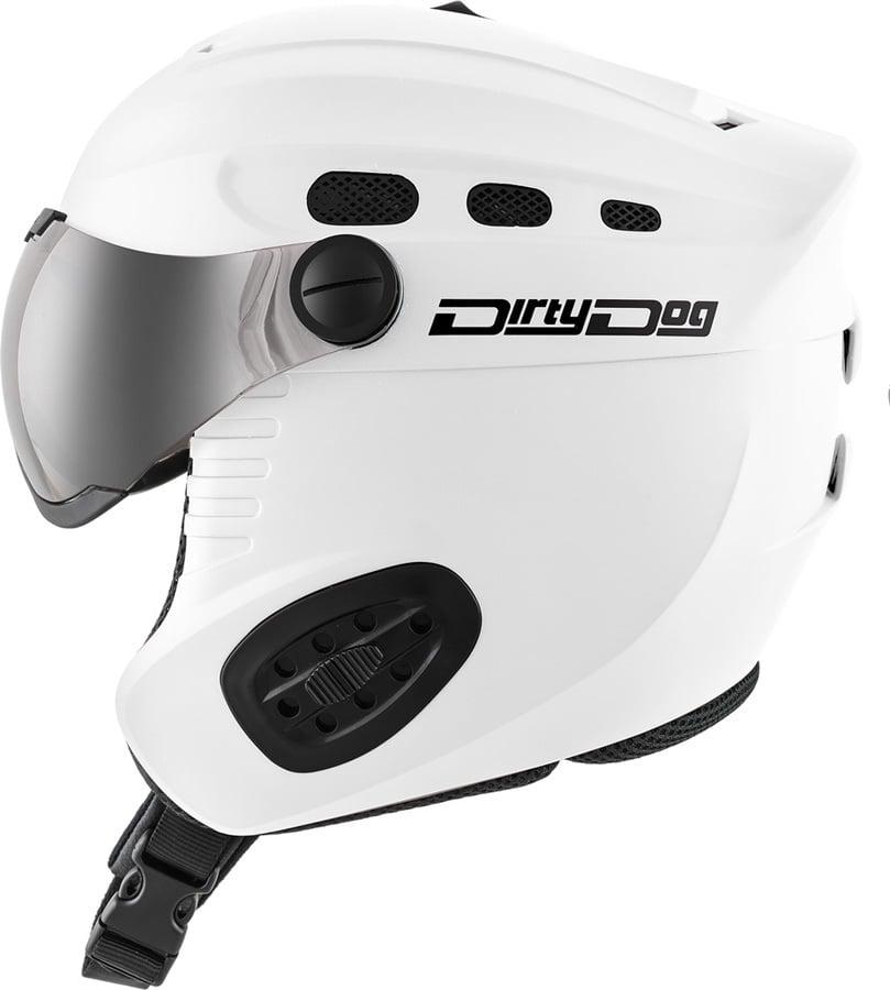 Dirty Dog Apache Ski/Snowboard Visor Helmet M Matte White Flash Silver