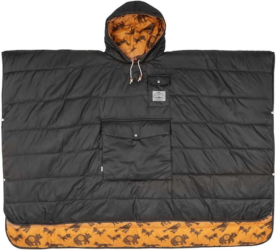 Poler Camp Poncho Reversible Camping Blanket With Hood, Black