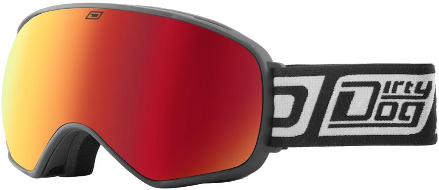 Dirty Dog Bullet Red Fusion Snowboard/Ski Goggles, L, Black-Grey
