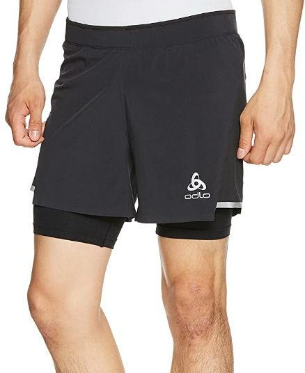 Odlo Zeroweight Ceramicool Pro 2-in-1 Running Shorts, S Black/Black
