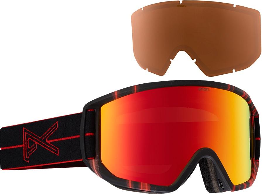 Anon Relapse MFI Ski/Snowboard Goggles M/L Red Light Red Solex