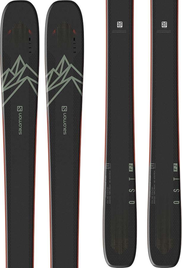 Salomon Adult Unisex Qst 92 Skis 153cm, Black/Green/Orange, Ski Only, 2021