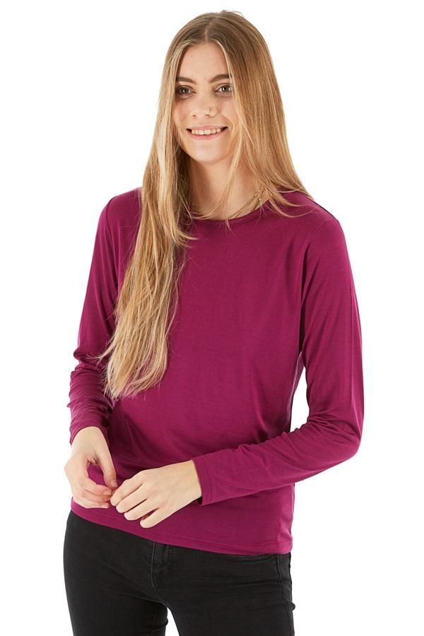 Silkbody Silkspun Women's Long Sleeve Baselayer Top, L Cerise