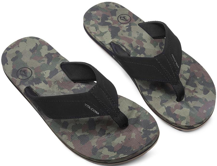 Volcom Victor Open Toe Sandal Flip Flops, UK 9 Dark Camo
