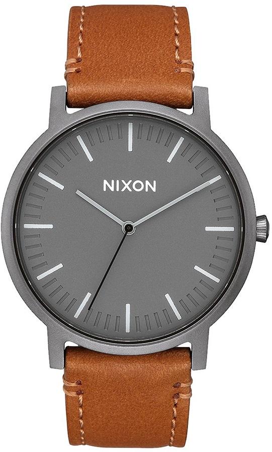 Nixon Porter Leather Men's Analog Watch, Gunmetal/Charcoal/Taupe