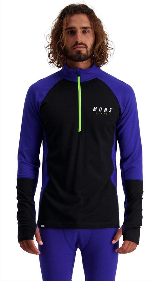 Mons Royale Olympus 3.0 Half Zip Long Sleeve Merino Top, XL Ultra Blue