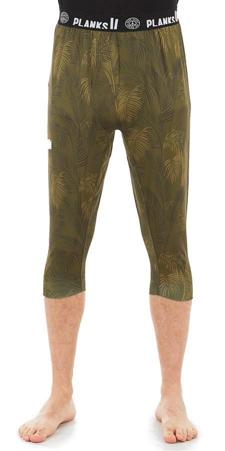 Planks Fall-Line Base Layer 3/4 Leg Thermal Bottoms, M Jungle Palm
