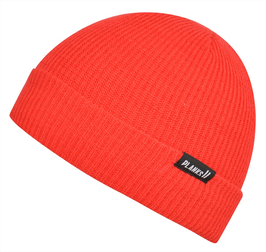Planks Adult Unisex Essentials Knitted Beanie Hat, One Size Hot Red