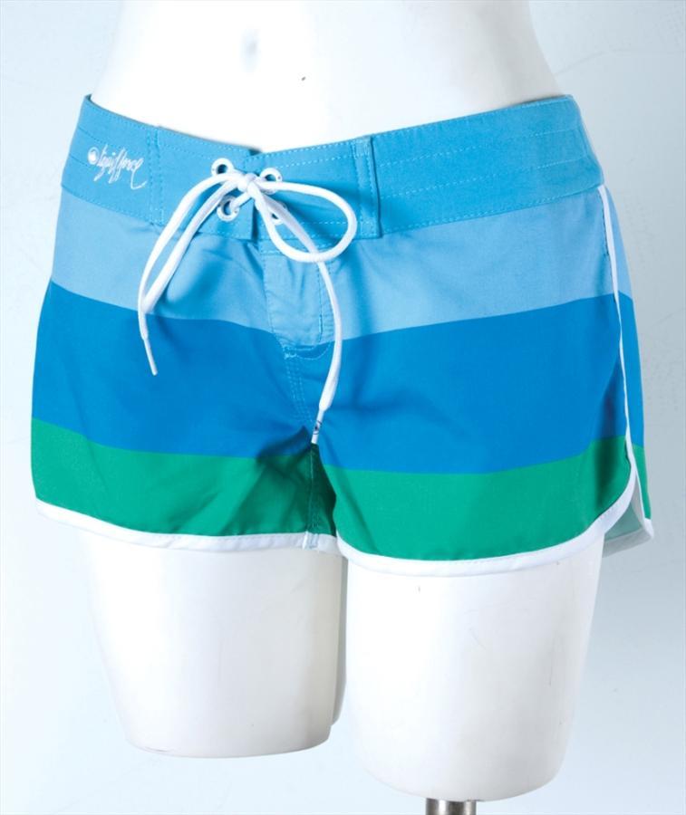 Liquid Force Candy Stripe Board Shorts, UK 8 US 4 Eur 36 Blue