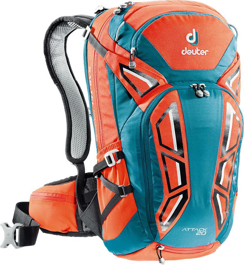 deuter Attack 20 Cycling Back Protector Backpack, 20L Papaya/Petrol