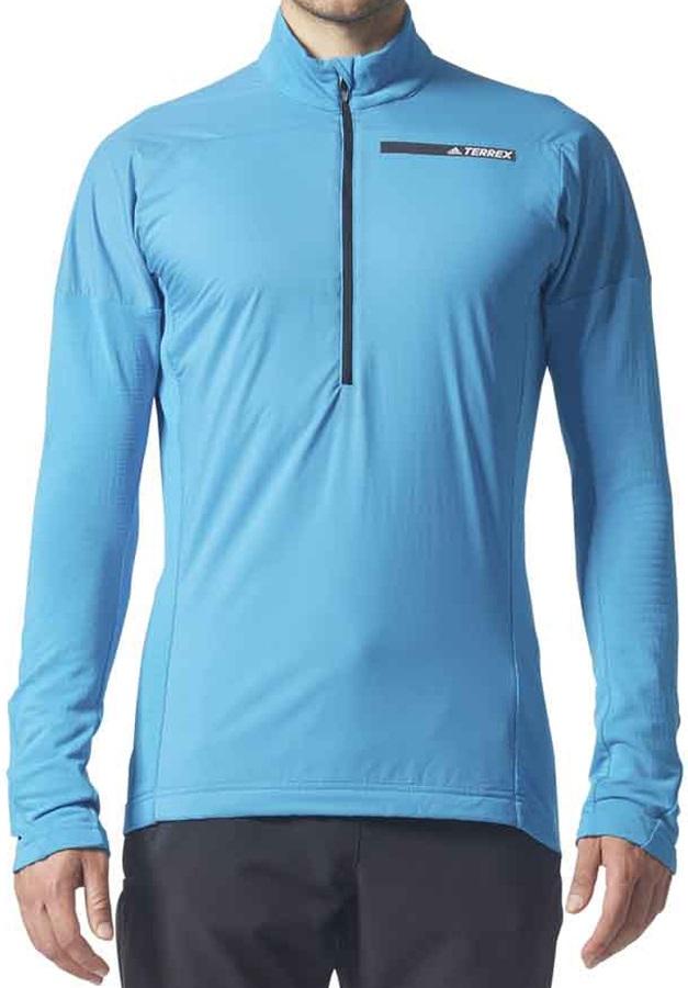 Adidas Terrex Skyclimb Men's Long Sleeve Zip Pullover, L Bold Aqua