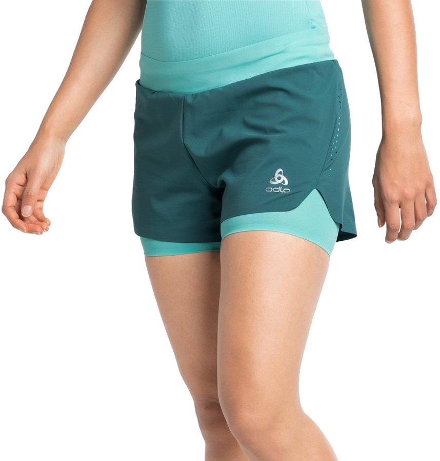 Odlo Zeroweight 3 Inch Women's 2-in-1 Running Shorts, UK 16-18 Balsam