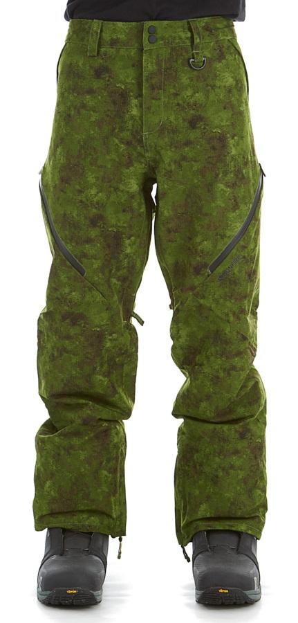 Bonfire Zone 2L Stretch Ski/Snowboard Pants, M Green Watercolour