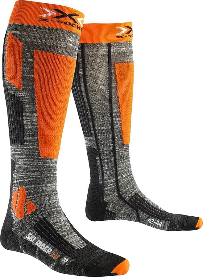 X-Bionic Ski Rider 2.0 Ski Socks UK 3-5.5 Grey Melange/Orange