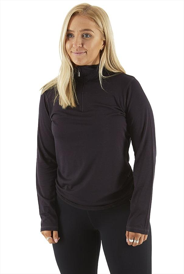 Silkbody Silkspun Zip Neck Women's L/S Baselayer Top, XL Aubergine